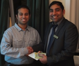 Rotarian Jason Chauhan welcomed into the Rotary Club of Leicester Novus by President Dipan Bhagalia