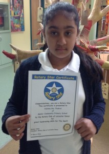 Valisha Ria Thukral with her certificate