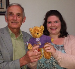 DG John Dehnel and President Gemma Kiddy with John's much-travelled End Polio Now teddy