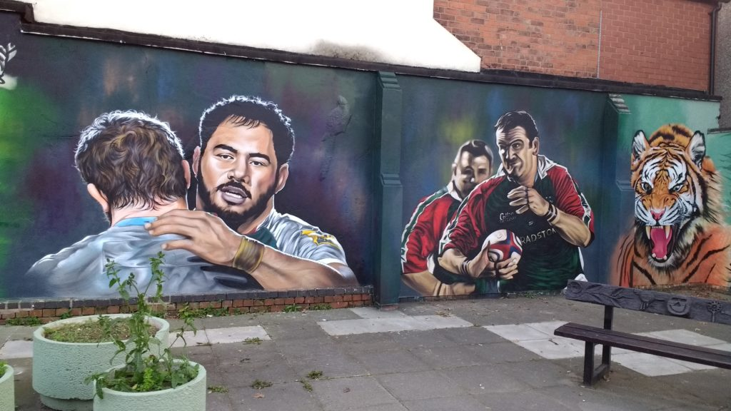 Part of Leigh Drummond's mural showing Tigers star Manu Tuilagi