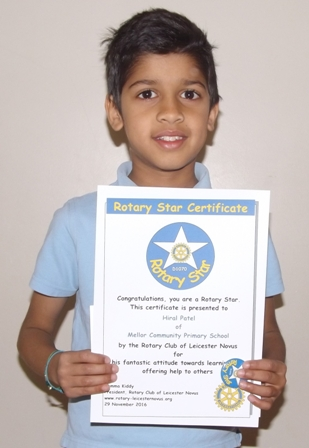 Hiral Patel, Mellor Rotary Star for his fantastic attitude towards learning and offering help to others