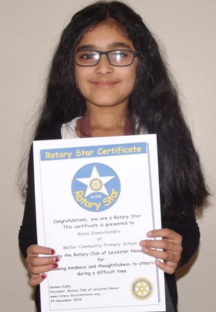 Raina Dineschandra, Mellor Rotary Star for showing kindness and thoughtfulness to others during a difficult time