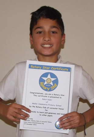 Rohit Kaler, Mellor Rotary Star for being ready to learn and generous and helpful to other pupils