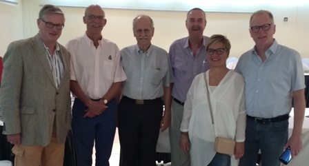 Visitors to the Rotary Club of Banjul; Rotarians Onno and Philip, non-Rotarian visitor Hans, Jim, Inner Wheel member Lis and her husband Rotarian Paul