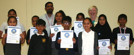 Mellor PS Rotary Stars with teacher Asif Esat and Rotarian Pam Spokes
