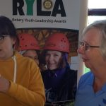RYLA candidate Emily York chatting with Pam Spokes, of her sponsoring Rotary Club of Leicester Novus