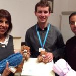 Jasbir Mann and President-Elect Jason Chauhan with Gary Farnfield. of Rainbows Children's Hospice and the memory boxes given to parents