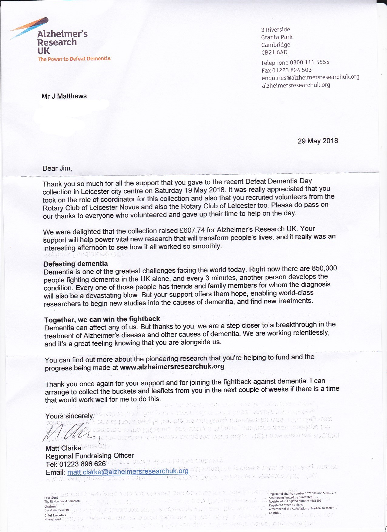 Letter of thanks from Alzheimer's Research UK