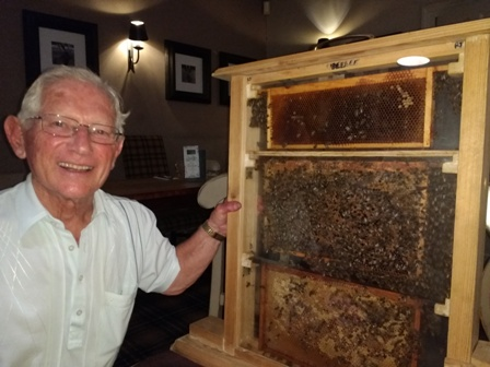 Melvyn Dines and just a few of his bees. They all behaved