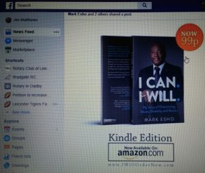 The Facebook page on which Mark Esho announced the launch of his inspirational book I Can. I Will.