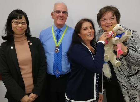 President Maya Vansia and visitor Louisa Horne with Assistant Governor Nigel Aaron and frequent visitor Mai Tsumura