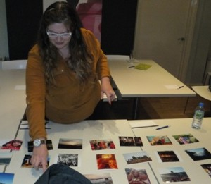 Gemma Kiddy sorting out her travelog photos