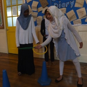 Spinney Hill pupils demonstrate one of the sponsored sports activities