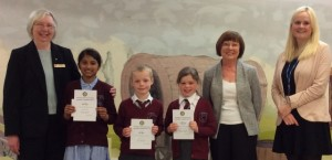 Young Writer winners Elna Mathew, Matt Byrne and Emily Wright with Rotarians Pam Spokes, Diana Thurston and teacher Kayleigh Turner