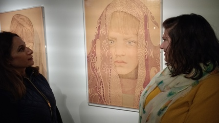 Artist Faiza Butt discusses her work with Rotary President Gemma Kiddy
