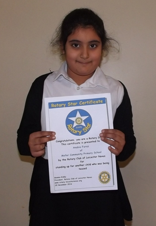 Anabia Faraz, Mellor Rotary Star for standing up for another child who was being teased