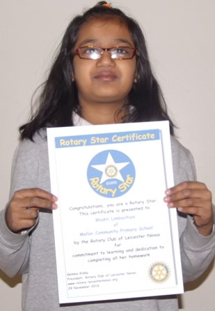 Bhakti Limbachiya, Mellor Rotary Star for commitment to learning and dedication to completing all her homework