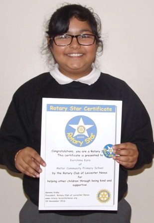 Karisma Kara, a Rotary Star for helping other children through being kind and supportive