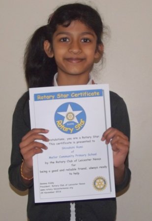 Shivakshi Rami, Mellor Rotary Star for being a good and reliable friend, always ready to help