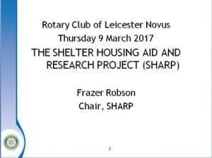 Frazer Robson's opening slide for SHARP