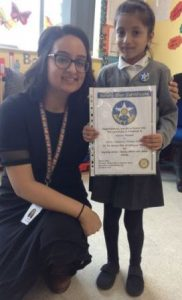 Amaana Ahamed with her certificate