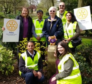President Gemma (front, right) is pictured with Penny and Rotarians Pam Spokes, Maya Vansia, Jason Chauhan, Deepak Karia and Jim Matthews.