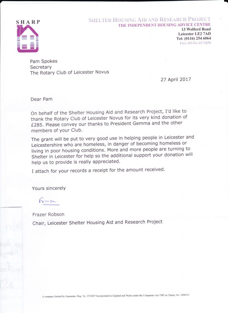 Letter of thanks from SHARP