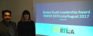 President Pradeep with Novus's RYLA candidate Emily York