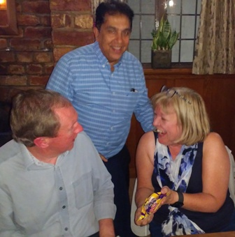 President Pradeep with the winners Frazer and Carolyn and their 'treasure'