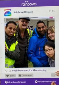 President Jason Chauhan with Novus volunteers Jim Matthews, with Dipan and Gemma Bhagalia with Mai Tsumura