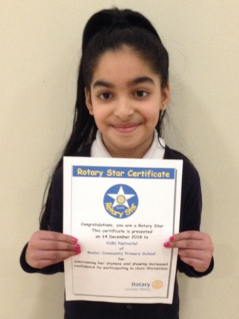 Vidhi Natvarlal for overcoming her shyness and showing increased confidence by participating in class discussions